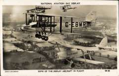 (Ephemera) National Aviation Day Display, Handley Page G-EBMR and DH.82A Tiger Moth G-ABUL in flight with aircraft of Cobham's Flying Circus, real photo B&$ PPC, unused.