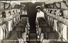 (Ephemera) Imperial Airways 'Argosy' passenger saloon with steward and drinks bar, B&W real photo card c1928. The Argosy implemented the luxury 'Silver Wing' service, from London to Paris. Two seats were removed, and replaced with a bar, and a steward was in attendance.