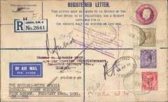 (GB External) London to Kisumu, bs 10/3, Registered Letter PSE embossed 3d + 1 1/2d with additional 1/4d stamps, canc Kensington 24/2 and Charles St 27/2 registered oval ds's, airmail etiquette, violet circular Imperial Airways House/London' hs verso, carried on Imperial Airways inaugural London to East Africa service, Registered covers are uncommon, registered letter stationary even more so.