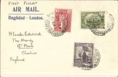 "(Iraq) F/F Baghdad to England, no arrival ds, franked 6a canc Baghdad Cantonement dr cds, blue/cream ""First Flight/Air Mail/Baghdad-London"" corner cover ms ""First Flight"", Imperial AW."