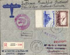 """(Sierra Leone) Belgium to Sierra Leone, F/F Brussels-Bathurst-Freetown b/s 10/9, carried by DLH from Frankfurt-Bathurst, transit 9/9, on the German South America service, then Bathurst-Freetown by Elders Colonial Airways. Registered (label) airmail cover franked 5F air + 1.75F, canc Leuven cds, fine strike magenta """"Deutsche Luftpost/Europa-Sudamerika"""" cachet. Listed in Jennekins and Godinas,  p87, pub 1970. Nice item, great routing."""