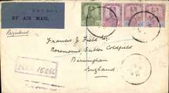 "(Malaya Johore) Scarce first acceptance of mail for acceleration from Far East to Great Britain by  Air Union Marseilles-Paris-London serviceMarseille-London service, Muar to London, registered London EC 3/11 arrival ds on front, via Singapore 10/10 and Penang 12/10, franked Johore 3c,6c and 12c x2 stamps, registered (hs) cover canc Muar cds, black three line ""First Service from Malacca/Connecting with Marseilles/London Air Mail"" cachet verso,  STS-A-1 airmail etiquette rated rare by Mair, Francis Field authentication hs verso."