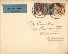 (Singapore) First flight Singapore to Alor Star, bs 11/5, carried on the KNILM inaugural Medan-Alor Star service, plain cover franked 10c Straits Settlements stamps, canc Singapore cds, green blue/black airmail etiquette P&T Mail 25.