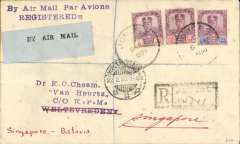 (Malaya ) Acceptance of mail from Johore for Weltevredin, bs 11/2, via Singapore 9/2, for carriage on the KNILM experimental Singapore-Palembang-Batavia flight, registered (label) cover franked 4c,12c and 24c Johore stamps, canc Johore 8 Feb 1930 cds, pale /black 'By Air Mail' etiquette P&T Mail 25.