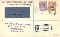 (Malaya) KNILM F/F Singapore to Palembang, Sumatra, bs 5/3, registered (label) cover franked 39c Straits Settlements stamps, scarce grey blue/black P&T Mail 25 Air Mail etiquette. Malayan Airmails, an 18 page article on Malayan Airmails 1923-63 , NC Baldwin. Collector's photocopy.