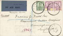 (Malaya Johore) Johore acceptance for carriage on the KLM Java to Holland accelerated service connecting with the Marseilles-London service enabling 1 day acceleration, Muar to London, bs fine strike red London 30 dec 28 receiver, registered (hs) cover franked 31c, canc Muar 3 Dec 1928 cds, via Jahore 4/12 and Penang 7/12, ms 'Marseilles-London', believed only 12 flown. Francis Field authentication hs verso. Malayan Airmails, an 18 page article on Malayan Airmails 1923-63 , NC Baldwin. Collector's photocopy.