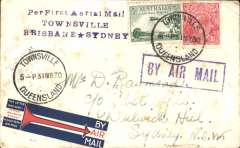 """(Australia) Queensland Air Navigation Co, F/F Townsville to Brisbane, and on to Sydney, 2/4 transit cds by Australian National Airways, plain cover franked 4 1/2d canc Townsville cds tied by violet framed 'By Air Mail' hs, fine strike violet three line """"Per First Aerial Mail/Townsville/Brisbane * Sidney"""", red/white/blue 'arrow' vignette produced for the ANA Brisbane to Sydney service. Some light toning, see scan."""