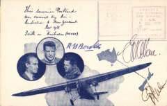 (Australia) Faith in Australia air mail flight, Australia to New Zealand, souvenir postcard printed in blue, did not go through the post but impressed with dated cachet confirming time and date of arrival and departure, and signed by CTP Ulm, GU Allen and RN Boulton. Depart cachet faint but legible.