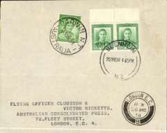 (Australia) Clouston and Ricketts, return leg of record DH88 Comet New Zealand-Australia-England, plain cover franked 1d New Zealand stamps canc Blenheim 20 Mar 38 cds and 1d Australia stamp canc Darwin 23 Mar 38 cds, London 26 mar 38  arrival ds on front. Only 12 flown.