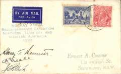"(Australia) Fourth MacKay Aerial Mineral and Geological Survey of Central/NWAustralia. Signed flight cover, blue four line cachet ""Mackay Aerial/Reconnaisance Expedition/Norhtern Territory and/Western Australia/1937"", addressed to EA Crome, franked 5d, canc Wiluna cds and backstamped Roy Hill 31/7, signed by pilots Frank Neale and Jim Pollock, and navigator Harry T Bennett. Only nine covers were posted at Wiluna. A detailed 12 page article by Graham on the covers of the Mackay Aerial Expeditions, including information on numbers flown, is included in this lot"