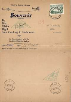 (Australia) Geelong-Melbourne glider flight, registered (label) printed souvenir cover, 15x23cm, franked 8d, signed by pilot P.J.Pratt. Eus 753.