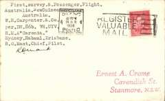 "(Australia) WR Carpenter Airlines survey and mail carrying flight Sydney-Rabaul Route, Sydney to Brisbane, plain cover franked 2d posted at Mascott Aerodrome 18 Apr 1938, and delivered to Brisbane port of call on 24 Apr 1938, typed ""First Survey and Passenger Flight/Australia-New Guinea-Australia/WR Carpenter & Co/RMA 'Caronia'/Sydney.Rabal.Brisbane/RO Mant Chief Pilot"", signed by R.O.Mant."