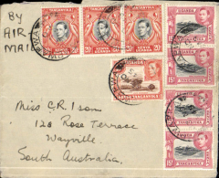 "(Tanganyika) Mwapa, East Africa to Wayville, South Australia, no arrival ds, plain cover franked 110c canc Mwapa 30 Nov 45, ms 'By Air Mail', likely carried on the 1945, Dec 3 Qantas 'Liberator' Kangaroo Service, F/F Colombo to Sydney, via Gawler where this cover was unloaded. This the final Isom cover, the last in the wartime correspondence between a DA Davis, a single man farming in Tanganyika and a Miss Isom. On the flap there is a note 'Your air letter received. Hope you can sail as soon as you are ready"". A rare non philatelic first flight combined with a piece of wartime social history."