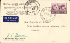 """(Australia) Qantas 'Liberator' Kangaroo Service, F/F Sydney to Colombo, 1/12 arrival ds on front, Qantas company cover with logo on flap, franked 1/6d, canc Sydney Air 29 No 45, typed """"First Sydney-Colombo service/Qantas 'Liberator' Kangaroo Service"""", signed by pilot Captain H.T.Howse."""