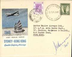 (Australia) Qantas Skymaster F/F regular service, Sydney to Hong Kong, and return, plain cover franked Australia 1/- canc Sydney 26 Jun 49 cds, and Hong Kong 10c canc Hong Kong 28 Jun 49 cds for the return, official company cover with embossed winged logo on flap, franked Australia 1/- canc GPO Sydney/26 JE 49 cds, scarce large pale blue/grey/black/white vignette produced to inaugurate this flight. Signed by the pilot, Capt. JM Hampshire.