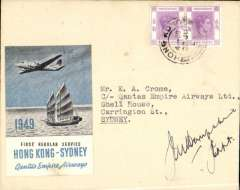 (Hong Kong) Qantas Skymaster first regular flight, Hong Kong to Sydney, plain cover franked 20c canc Hong Kong cds, official company cover with embossed winged logo on flap, large blue/grey/white Qantas Hong Kong-Sydney vignette. Signed by the pilot, Capt. J.M.Hampshire.