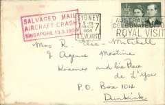 "(Recovered Interrupted Mail) BOAC, Lockheed Constellation crash at Singapore, en route from Australia to Dunkirk, France, plain cover, franked 2/- canc Sydney 10 Mch 1954, fine strike red framed ""Salvaged Mail/Aircraft Crash/Singapore 13.3.1954"" cachet, Ni 540313a."