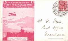 (GB Internal) Coronation Aerial Post, public mail, scarlet London to Windsor envelope, flown London-Windsor, addressed to London W1, a particularly fine strike die 6 London postmark.  Also the scarlet printed insert which contained postal instructions
