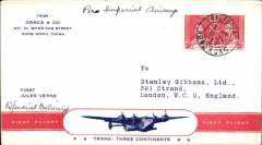 """(Hong Kong) First acceptance of mail from Hong Kong for carriage to New York on the Pan Am FAM 18 Northern  Route  Southampton to New York service. Graca and Stanley Gibbons four page souvenir red/white/blue """"Trans Three Continents"""" & """"First Jules Verne"""" flying boat cover franked Hong Kong 3d canc 8 Ju 1939 and verso GB 1/3d canc 18 Jly 1939. Scarce item in fine condition."""