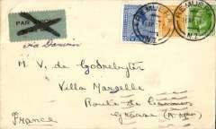 (New Zealand) NA/Qantas/IAW, first acceptance of New Zealand mail for carriage to France on the inaugural experimental airmail Australia-England service, Remuera NZ to Grasse, Alpes Maritime, France, bs 16/5, via Paris Gard du Nord Avion 14/4 and Marseilles Gare (date illegible), plain cover with original contetnts franked 2/2 1/2d, good strike special purple cachet verso, black/grey-blue airmail etiquette cancelled by fine strike black cross Jusqu'a applied at Paris to indicate termination of carriage by the IAW service, then onward transmission to Marseilles and final destination. A scarce item with great routing. One for the exhibit.