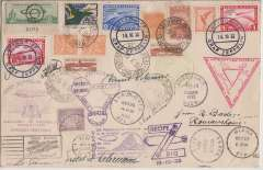 (Airship) 1933 Chicago Flight, an exceptional cover with mixed franking including Germany 1Rm (x2) and 2rm, and US 50c green. An historic record of the Germany-Brazil-USA-Germany round trip with multiple postmarks including Germany, Brazil (2), Recife-Rio, US Century of Progress Expo (2), and related flight cachets. Also bears five signatures of crew members - Hugo Eckener, commander; Ernst Lehmann, captain; Max Pruss, navigation officer; Knut Eckener, helmsman; and Ludwig Durr, chief constructor of the airship. Nine such covers have been recorded, but this is the only one with signatures.
