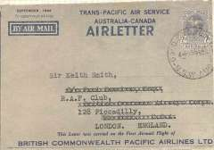 (Australia) Australia National Airlines/British Commonwealth Pacific Airlines, Sydney to London, ms 'Received in London 6.40pm 20/9/46' in hand of Sir Keith Smith', 7d air letter overprinted in blue, addressed to Sir Keith Smith, RAF Club, Piccadilly, London. Sir Keith Smith was a director of BCPA. Only 100 airletters were overprinted blue. Small rub in centre of stamp, otherwise fine, see scan