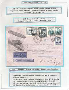 (Spain) Spanish acceptance for carriage on DLH South America Airmail service to South America, Seville to Buenos Aires, bs 3/12, registered (hs) lightweight grey/blue Lufthansa airmail envelope with etching of Zeppelin flying above DLH monoplane for use by customers in Spain, franked 3.80P to cover base,air & registration fees), canc octagonal 'Amb.Andalucia/Certificado/27 Nov 35'. Attractive item.