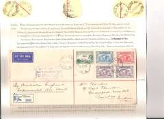 (Australia) First acceptance of mail for India, Unley, South Australia to Bombay, b/s, via Adelaide 21/4, carried on the return of the first Imperial Airways experimental flight England-Australia, registered (label) cover (22x10cm) franked 1931 Kingsford Smith 2d, 3d and 6d x2 and 1928 3d air, violet official flight cachet, Qantas/Imperial Airways. An uncommon acceptance.