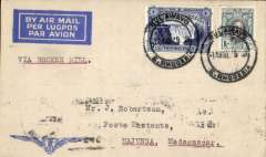 """(Southern Rhodesia) First dispatch of mail from S. Rhodesia to Madagascar, Bulawayo to Majunga, bs 9/8, via Tananarive 4/8, Imperial Airways 'winged logo' cover with Robertson hs on flap, franked 1/3d, typed """"Via Broken Hill"""". Carried by Imperial AW to Broken Hill, then by LeFevre and Assolant on the new Franco-Belgian 'Broken Hill-Madagascar' service. For good references see Morton 2005."""