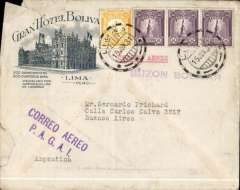 """(Peru) Rare violet """"Correo Aereo/P.A.G.A.I."""" hand stamp, Lima to Buenos Aires, bs and also BA 98/21 in small circle postman's mark, Gran Hotel Bolivia, Lima corner cover with detailed route map of Grace Line South America to New York service, franked 170c Peruvian stamps, canc Lima cds, fine strike of rare violet """"Correo Aereo/P.A.G.A.I."""" hand stamp. Some top lh corner damage, see scan. Early Panagra commercial mail flown out of Peru is hard to find. The name """"Pan American Grace Airways Incorporated"""" lasted but a short time and the PAGAI cachet is therefore very scarce"""