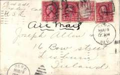 (United States) Reno, Nevada to Lisburn, Ireland, via New York, bs Varick St Mar 21 1926, plain cover franked 26c (The correct rate is 27c, this cover is franked 26c), canc Reno, NV Mar 19 1926 duplex, ms 'Air Mail'. Flown to New York, then surface to Great Britain.This item was carried in accordance with the US Postal Guide Supplemental Regulation, August 1924, governing 'letters destined for delivery in foreign countries accepted for transmission by the air mail service between New York and San Francisco'.   A copy of this regulation accompanies this cover. An historical item in fine condition.