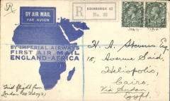 (GB External) Imperial Airways F/F London to Egypt, bs bs Cairo 5/3 and Heliopolis 5/3, flown on inaugural England-East Africa service, registerd (label) blue/white 'map' cover, franked 4d x2, canc Edinburgh 21 Feb 31 cds. The original 'Certificate of Posting' is included.