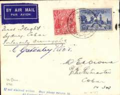 (Australia) Intercity Airways F/F Sydney to Cobar, bs 14/, airmail etiquette cover franked 5d, ms 'First light/Sydney-Cobar/Intercity Airways Ltd', signed by the pilot Charles Gatenby. Only 20 flown. Also small pictures (not a photos) of Gatenby and his Gannet aeroplane.