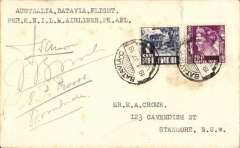 (Australia) KNILM, Sydney to Batavia, return of Dutch East Indies-Australia charter flight, plain cover addressed to E.A. Crome, posted on return, franked  DEI 21c canc 'Batavia/Centrum/19.1.37', verso Australia 1d, canc 'Enmore 15 JA 37' Sydney cds (the return flight left Sydney on 16 January to confirm departure. Signed by the entire crew of four. A few tone spots. One of only 12 flown.