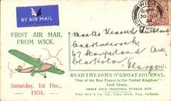 (GB Internal) Highland Airways, first southbound mail from Wick, red/green/cream 'John O'Groat Journal/First Air Mail from Wick/Order Your Christmas Number Now' cover, addressed to Glasgow, franked 1 1/2d, canc 'Wick/Caithness/ 30 NO 34'. A scarce item in fine condition.  Highland Airways was the first company to receive a contract from the Post Office for the regular conveyance of first class mail by air, no extra fee being charge for letters below 2 oz in weight. This was an extremely important event in the development of the GB Internal airmail system. Some tone spots verso.