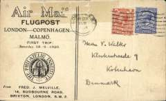 (GB External) Aircraft Transport and Travel projected F/F  London to Copenhagen, no arrival ds   (London-Amsterdam-(Bremen-Hamburg-Copenhagen-Malmo), Philatelic Instsitute 'Air Mail/Flugpost' souvenir cover franked  franked 4 1/2d (2d air reduced rate + 2 1/2d postage) canc London SW1/18 Sep/1920. Repaired top edge tear, hardy detracts, otherwise good. A scarce early first flight.
