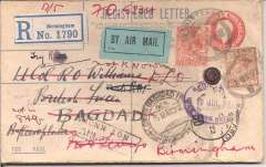 (GB External) Birmingham to Baghdad, bs Baghdad HQ 14/5, uncommon 3d Registered (label) Postal Stationary envelope with additional 2d & 5d, addressed British Force, Baghdad, canc Birmingham hooded registration ds, black/pale green blue etiquette rated very scarce by Mair, small wax seal intact, ms 'By Aeroplane'. Very early cover on the RAF route, travelled by sea to Cairo, then by air to Baghdad.Registered covers are scarce.