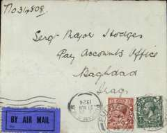 (GB External) RAF Cairo-Baghdad, airmail cover London to Baghdad, bs 6/12, plain cover addressed to Army H.Q.Pay Accounts Office, franked 5 1/2d, canc Fulham cds, black/dark blue etiq rated scarce by Mair.  Early cover on the RAF route, travelled by sea to Cairo, then by air to Baghdad.