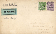 (GB External) Early airmail,London to Warsaw, bs 2/11, via Berlin 1/11, plain cover correctly franked 3 1/2d, canc Liverpool cds, ms 'London-Berlin', pale green.black airmail etiquette.