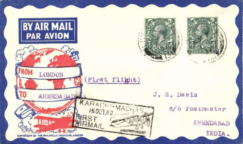 (GB External) TATA take over mails from IAW for Karachi-Madras route, London to Ahmedabad, 15/10 arrival ds on front, Philatelic Magazine cover franked 8d, canc Liverpool cds, boxed 'Karachi-Madras' flight cachet, etiquette, flown by Neville Vintcent, Newall 60u (1996).