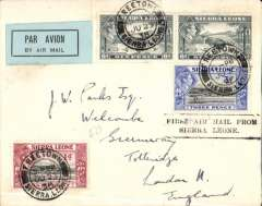 """(Sierra Leone) Elders Colonial Airways inauguration of experimental service between between Sierra Leone and Gambia connecting, at Bathurst, with the German service to Europe. A plain cover, addressed to London no arrival ds, correctly rated 1/4d, authentic pale green/blue/black Sierra Leone etiquette rated very scarce by Mair, official black two line """"First Air mail From/Sierra Leone"""" cachet. Owing to engine failure Bathurst was not reached until after the departure of the Lufthansa machine. The mail for Europe had to await the next week's service. A scarce first flight. It is also an unlisted interrupted flight."""