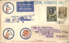 "(Bechuanaland) First acceptance of mail for Malaya from Bechuanaland for carriage on the inaugural Imperial Airways Rangoon-Singapore extension, Lobatsi to Alor Star, 21/12, via Cairo, blue/orange/cream Robertson cover franked 1912 Bechuanaland Protectorate opt on GB 1/- and 1933 Bechuanaland 1/-, canc Lobatsi 1 Dec 33 cds, large blue straight line ""By Imperial Airways Only"" hs. Carried by IAW AN144 from Cape own to Cairo, and IAW IE 246 from Cairo-Singapore. Some rear flap damage, not visible from front, see scan. A truly RARE item."
