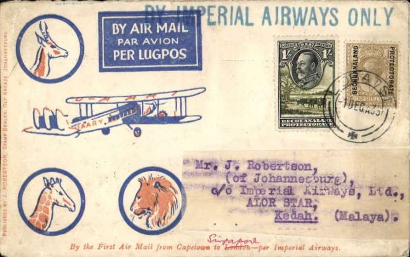 """(Bechuanaland) First acceptance of mail for Malaya from Bechuanaland for carriage on the inaugural Imperial Airways Rangoon-Singapore extension, Lobatsi to Alor Star, 21/12, via Cairo, blue/orange/cream Robertson cover franked 1912 Bechuanaland Protectorate opt on GB 1/- and 1933 Bechuanaland 1/-, canc Lobatsi 1 Dec 33 cds, large blue straight line """"By Imperial Airways Only"""" hs. Carried by IAW AN144 from Cape own to Cairo, and IAW IE 246 from Cairo-Singapore. Some rear flap damage, not visible from front, see scan. A truly RARE item."""