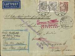 """(Ship to Shore) Denmark acceptance for the Virgin Islands, bs St. Thomas 29/8, for carriage on the 22/7/34 German North Atlantic Catapult Service Europa to New York, via Cologne, Koln/12.7.34/Flughafen transit cds verso, airmail etiquette cover franked 125 ore, canc Kobenhavn/ 11.7.34, red  """"Mit Luftpost/zum D. 'Europa'/Befordert"""" flight cachet, ms 'By Air Mail/Via New York', ref K193DK, Graue&Lieder. RARE to and from acceptances. Only c12 from Denmark and therefore, almost certainly, the only one for the Virgin Islands."""