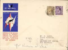 (GB External) First acceptance of UK mail for British New Ginea for carriage on the inaugural Imperial Airways/Qantas extension of the London-Singapore service to Australia, London to Lae, bs 25/1/35, via Brisbane 21/12 IAW/Qantas souvenir cover flown correctly rated 1/3d. Uncommon destination.