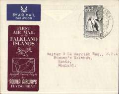 """(Falkland Is) Aquila Airways special survey flight, carrying the first airmail from the Falkland Islands to Great Britain, brown/grey printed souvenir cover, franked KGVI 1/- canc """"Port Stanley/Falkland Isles/First Overseas Mail/1 MY 52"""". Aquila AW was founded in 1948 to serve destinations that were still inaccessible to land based aircraft. Their flying boats were also chartered for one off trips usually to deploy troops where scheduled services did not exist, or when there were political considerations, e.g. three Aquila flying boats were used during the Berlin Airlift. The 1952 Southampton-Falkland Isles survey flight was by far their longest charter. An uncommon historical item."""