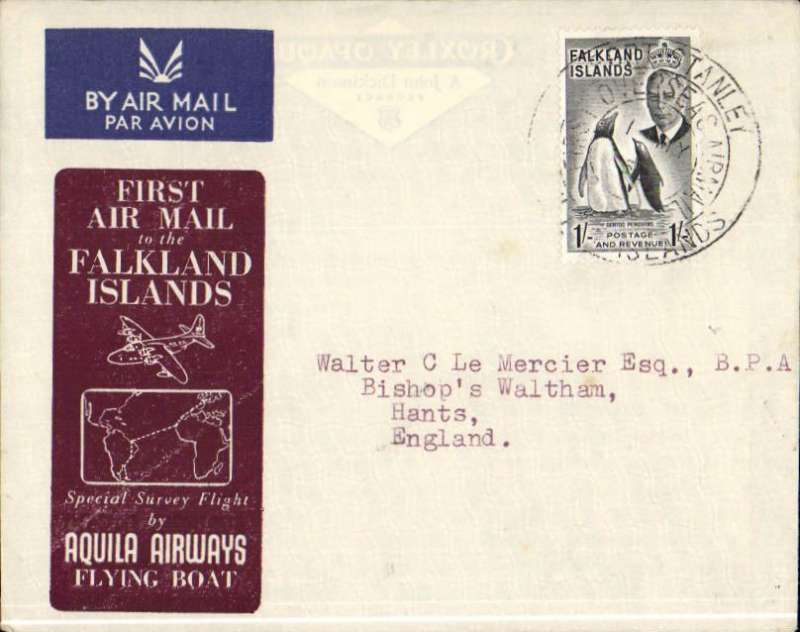"(Flying Boats) Aquila Airways special survey flight, carrying the first airmail from the Falkland Islands to Great Britain, brown/grey printed souvenir cover, franked KGVI 1/- canc ""Port Stanley/Falkland Isles/First Overseas Mail/1 MY 52"". Aquila AW was founded in 1948 to serve destinations that were still inaccessible to land based aircraft. Their flying boats were also chartered for one off trips usually to deploy troops where scheduled services did not exist, or when there were political considerations, e.g. three Aquila flying boats were used during the Berlin Airlift. The 1952 Southampton-Falkland Isles survey flight was by far their longest charter. An uncommon historical item."
