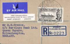"""(Falkland Is) Aquila Airways special survey flight, carrying the first airmail from the Falkland Islands to Great Britain, small buff registered (label) cover, franked KGVI  £1/ (SG 185)  tied by fine strike large circular first overseas airmail""""Port Stanley/Falkland Isles/First Overseas Mail/21 Apr 52"""" (Heijtz type PS.Air.1C), black/white three line """"First Overseas Airmail/Special urvey Flight by Aquila Airways/Port Stanley-London"""". Aquila AW was founded in 1948 to serve destinations that were still inaccessible to land based aircraft. Their flying boats were also chartered for one off trips usually to deploy troops where scheduled services did not exist, or when there were political considerations, e.g. three Aquila flying boats were used during the Berlin Airlift. The 1952 Southampton-Falkland Isles survey flight was by far their longest charter. An superb historical item."""
