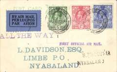 "(Swaziland) First Swaziland acceptance for Limbe, bs 9 Mar 34 4.30pm, via Blantyre 9 Mar 34 3.00pm, carried by Imperial Airways to Salisbury then in Rhodesia and Nyasaland Airways inaugural flight to Blantyre and Limbe, Davidson PC franked 4 1/2d, canc Mbabane, Swaziland 5 Mar 34, violet straight line ""First Official Air Mail"", black two line ""S Rhodesia/ Nyasaland"" and ""All The Way"" hand stamps. A scarce acceptance in pristine condition."