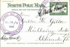 (Polar exploration) Polar Expeditions: Arctic: 1926 Amundsen-Ellsworth-Nobile ''Norge'' Expedition, North Pole Mail card addressed to Germany and signed by Riiser-Larssen (Amundsen's navigator and second in command) over one of two strikes of circular ''NORGE'' cachet dated ''11-14/V/1926''.